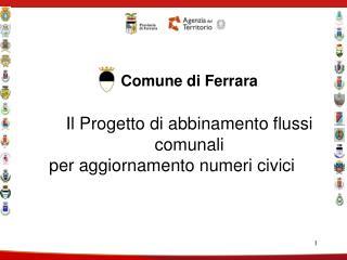 Comune di Ferrara Il Progetto di abbinamento flussi comunali  per aggiornamento numeri civici