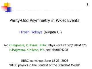 Parity-Odd Asymmetry in W-Jet Events