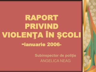 RAPORT PRIVIND VIOLENŢA ÎN ŞCOLI - ianuarie 2006-