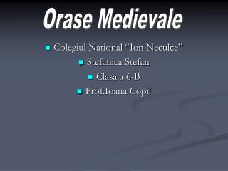 """Colegiul National """"Ion Neculce"""" Stefanica Stefan Clasa a 6-B Prof.Ioana Copil"""
