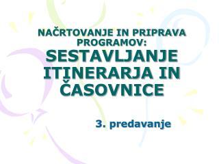 NAČRTOVANJE IN PRIPRAVA PROGRAMOV: SESTAVLJANJE ITINERARJA IN ČASOVNICE