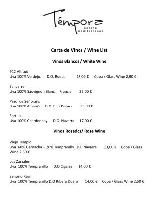 Carta de Vinos / Wine List Vinos Blancos / White Wine 912 Altitud