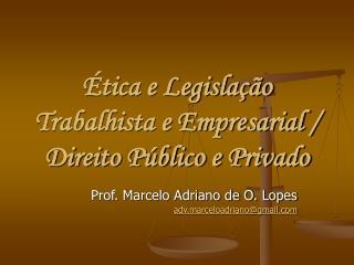 Ética e Legislação Trabalhista e Empresarial /  Direito Público e Privado