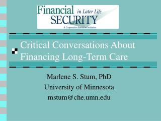 Critical Conversations About Financing Long-Term Care