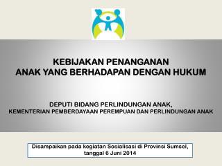 Disampaikan pada  kegiatan Sosialisasi di  Provinsi Sumsel ,  tanggal  6  Juni  2014