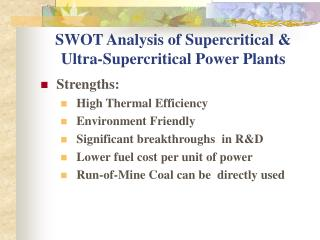 SWOT Analysis of Supercritical  Ultra-Supercritical Power Plants
