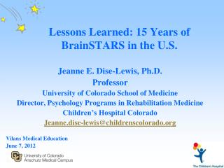 Lessons Learned: 15 Years of BrainSTARS in the U.S.