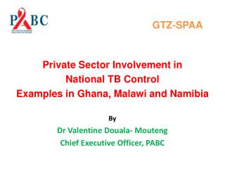 GTZ-SPAA Private Sector Involvement in  National  TB Control