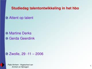 Studiedag talentontwikkeling in het hbo