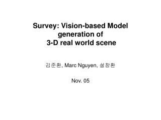 Survey: Vision-based Model generation of