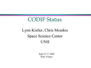 CODIF Status