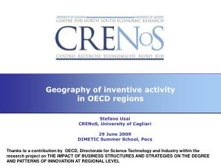 Geography of inventive activity in OECD regions