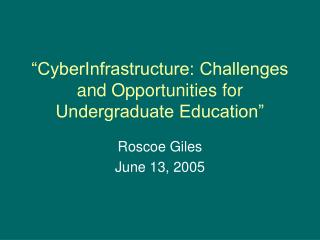 """CyberInfrastructure: Challenges and Opportunities for Undergraduate Education"""