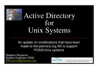 Active Directory for  Unix Systems