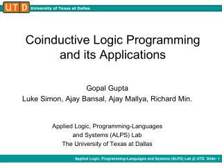 Coinductive Logic Programming  and its Applications