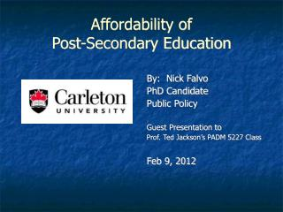 Affordability of  Post-Secondary Education
