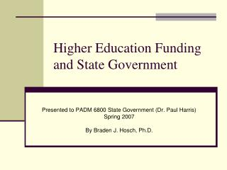 Higher Education Funding and State Government