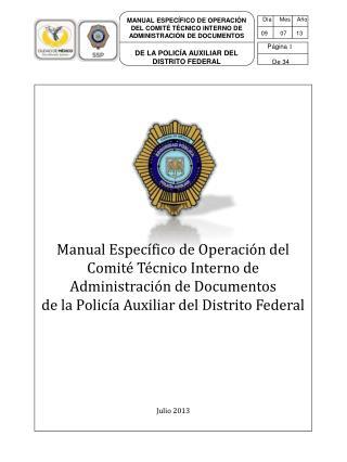 MANUAL ESPEC�FICO DE OPERACI�N DEL COMIT� T�CNICO INTERNO DE ADMINISTRACI�N DE DOCUMENTOS