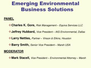 Emerging Environmental Business Solutions