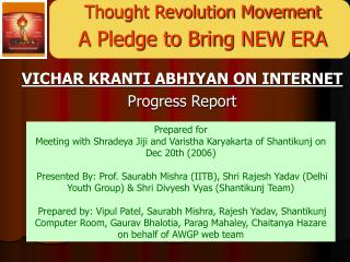 Thought Revolution Movement A Pledge to Bring NEW ERA