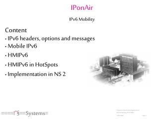 IPonAir IPv6 Mobility