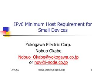 IPv6 Minimum Host Requirement for Small Devices