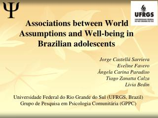 Associations between World Assumptions and Well-being in Brazilian adolescents