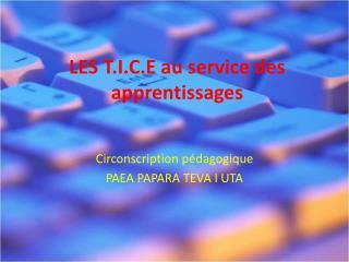 LES T.I.C.E au service des apprentissages