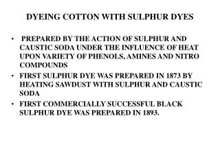 DYEING COTTON WITH SULPHUR DYES