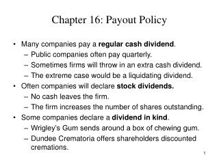 Chapter 16: Payout Policy