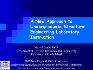 A New Approach to Undergraduate Structural Engineering Laboratory Instruction