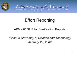 Effort Reporting APM - 60.32 Effort Verification Reports