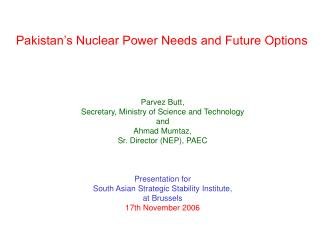 Pakistan's Nuclear Power Needs and Future Options