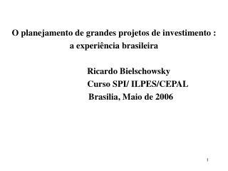 O planejamento de grandes projetos de investimento :  a experiência brasileira
