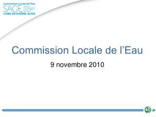 Commission Locale de l'Eau 9 novembre 2010