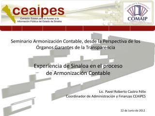 Experiencia de Sinaloa en el proceso de Armonización Contable