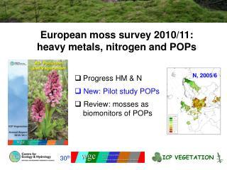 European moss survey 2010/11: heavy metals, nitrogen and POPs