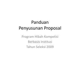 Panduan  Penyusunan Proposal