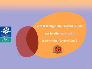 """Le test d'éligibilité """"Grand public"""" sur le site  caf.fr à partir du 1er avril 2009"""
