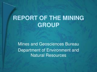 REPORT OF THE MINING GROUP