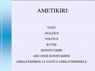AMET I KIR I:
