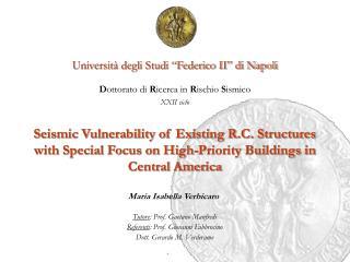 """Università degli Studi """"Federico II"""" di Napoli D ottorato di  R icerca in  R ischio  S ismico"""