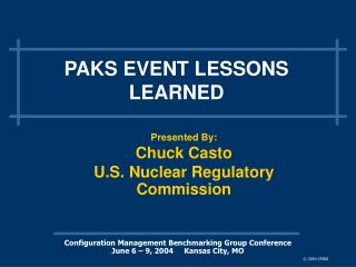 PAKS EVENT LESSONS LEARNED
