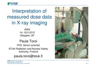 Interpretation of measured dose data in X-ray imaging