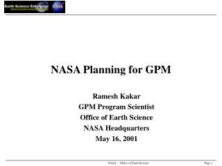 NASA Planning for GPM