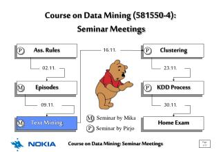Course on Data Mining (581550-4):  Seminar Meetings