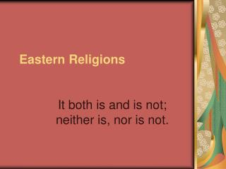Eastern Religions