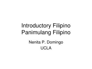 Introductory Filipino Panimulang Filipino
