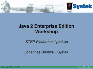 Java 2 Enterprise Edition Workshop