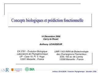Concepts biologiques et prédiction fonctionnelle
